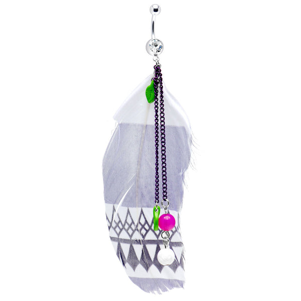 Crystalline Gem Indian Feather Drop Belly Ring