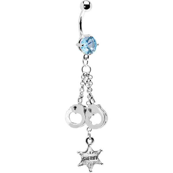 Aqua Gem Sheriff Badge Handcuff Belly Ring