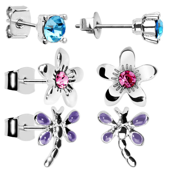 Dragonfly Flower Stud Earring Set