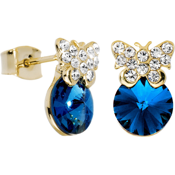12mm Blue Gem Butterfly Stud Earrings