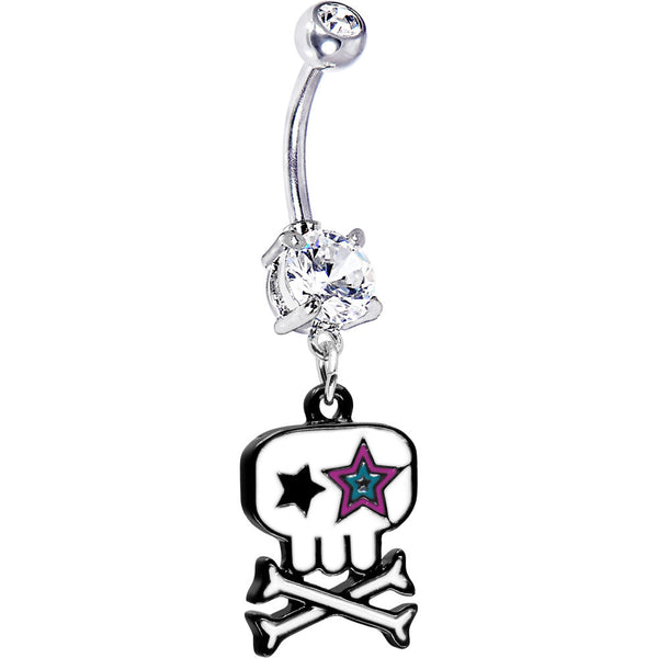 Starry Eyed Skull and Crossbones Belly Ring