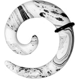 0 Gauge White Resin Spiral Taper