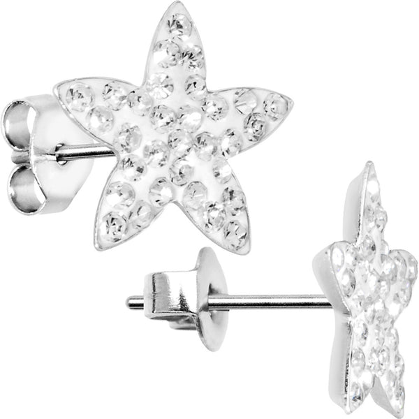13mm Clear Flower Stud Earrings Created with Swarovski Crystals