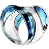 Handmade Black Blue Striped Glass Ring