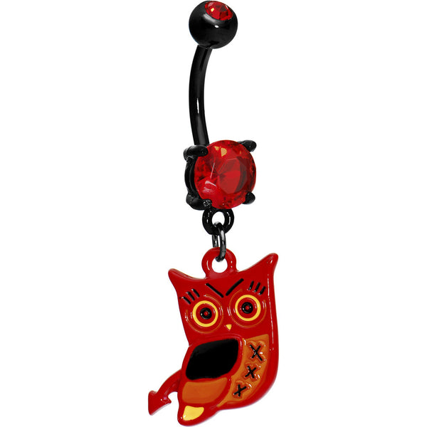 Adorable Red Owl Black Belly Ring