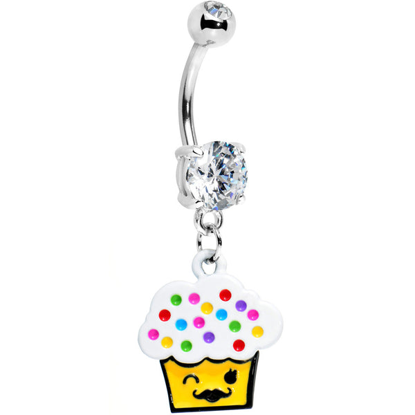 Colorful Sprinkles Mustache Cupcake Belly Ring