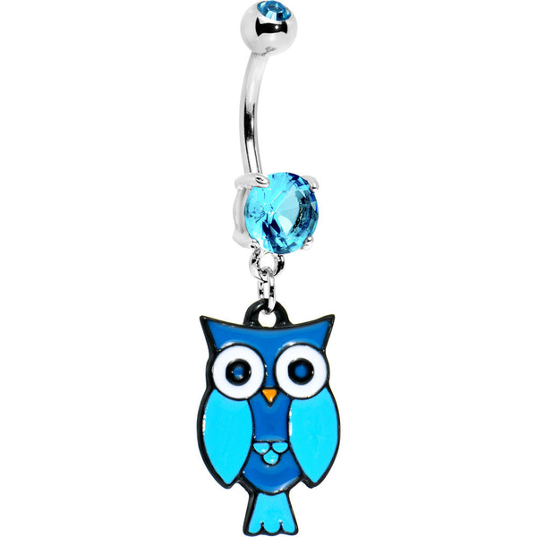 Aqua Double Gem Perched Owl Belly Ring