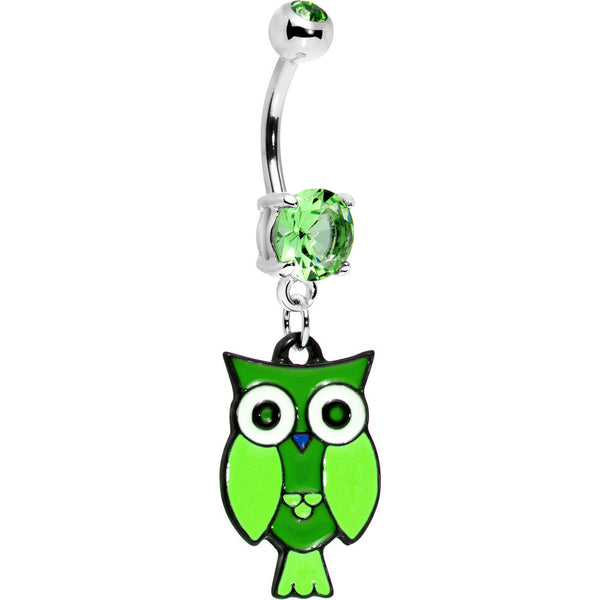 Peridot Double Gem Perched Owl Belly Ring