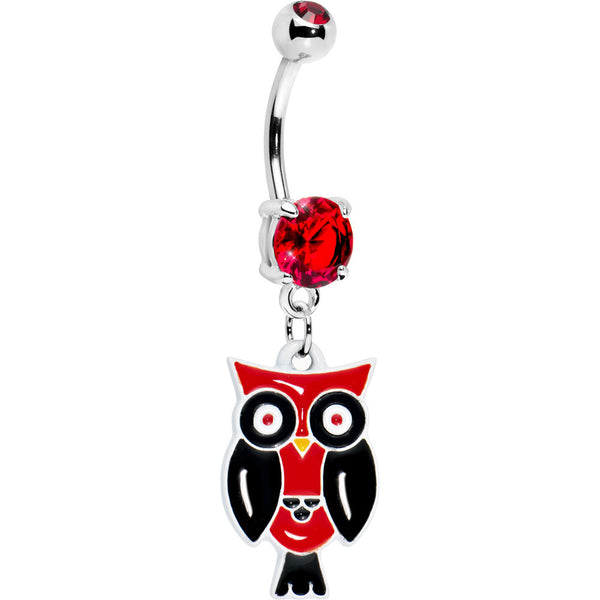 Ruby Red Double Gem Perched Owl Belly Ring