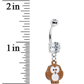 Crystalline Gem Cartoon Owl Dangle Belly Ring
