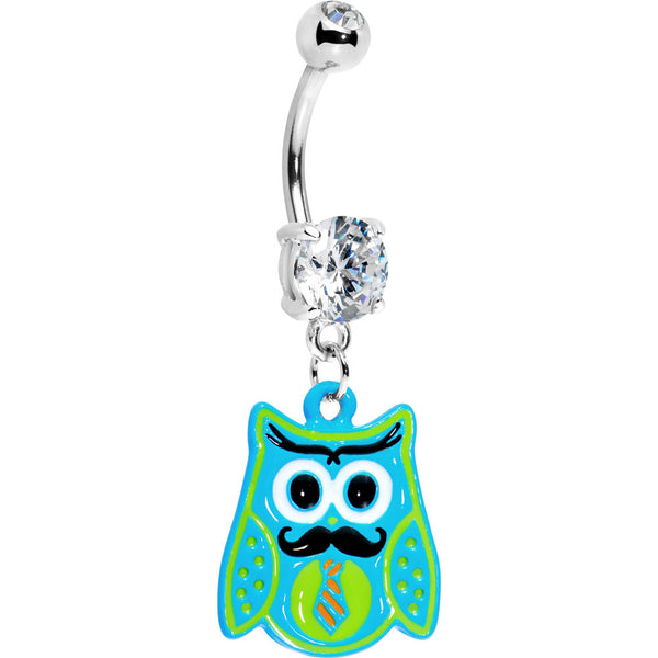 Double Gem Tie and Mustache Owl Belly Ring