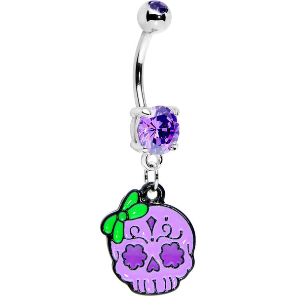 Purple Gem Bow Sugar Skull Belly Ring