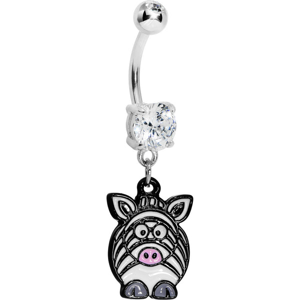 Clear Gem Zebra Belly Ring