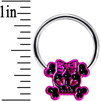 Black Hot Pink Bow Skull and Crossbones Captive Ring