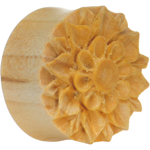 1 inch Crocodile Wood Hand Engraved Flower Plug