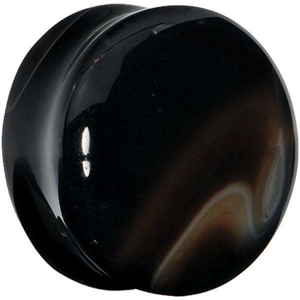 22mm Black Line Agate Natural Stone Saddle Plug