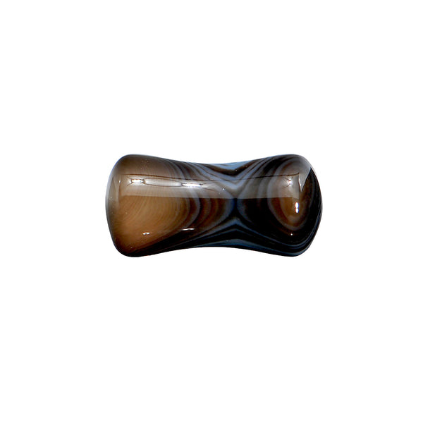 4 Gauge Black Line Agate Natural Stone Saddle Plug