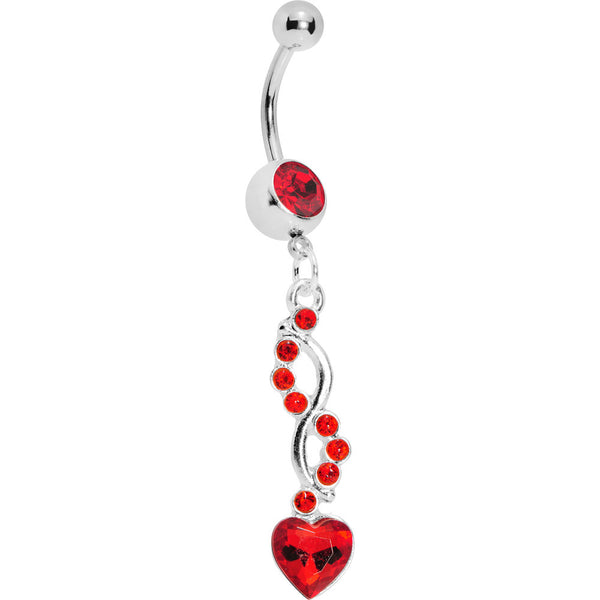 Red Spiral Twist Heart Belly Ring