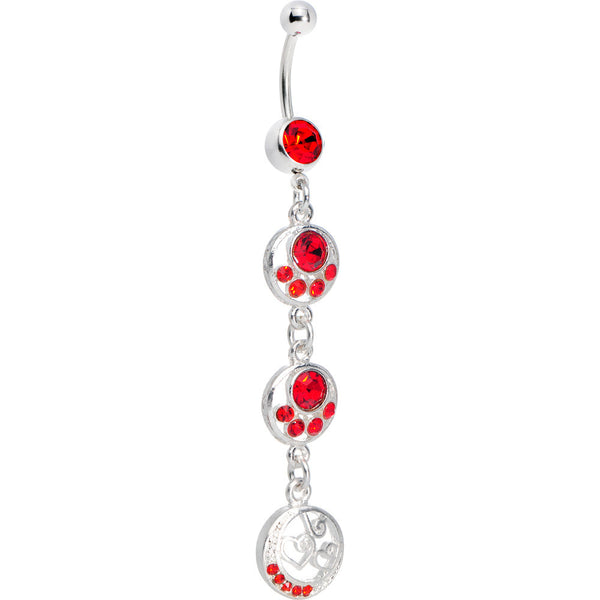 Ruby Red Crystal Ellipses Bali Heart Belly Ring