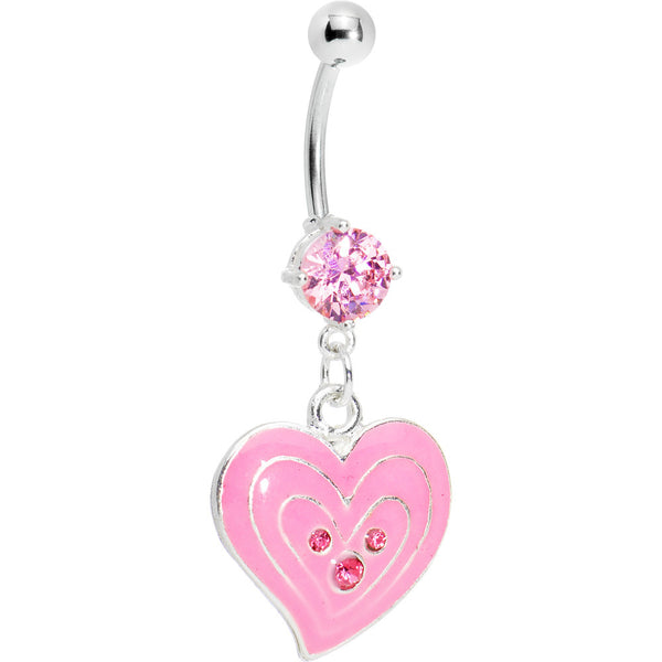 Pretty Pink Gem Heart Belly Ring