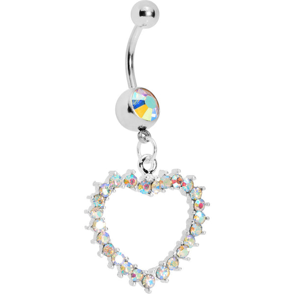 Passionate Aurora Hollow Heart Belly Ring