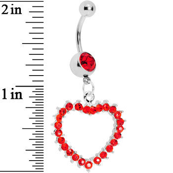 Passionate Red Gem Paved Hollow Heart Belly Ring