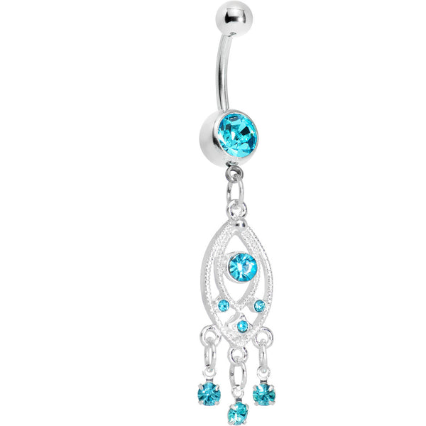 Aqua Gem Grecian Glamour Chandelier Belly Ring