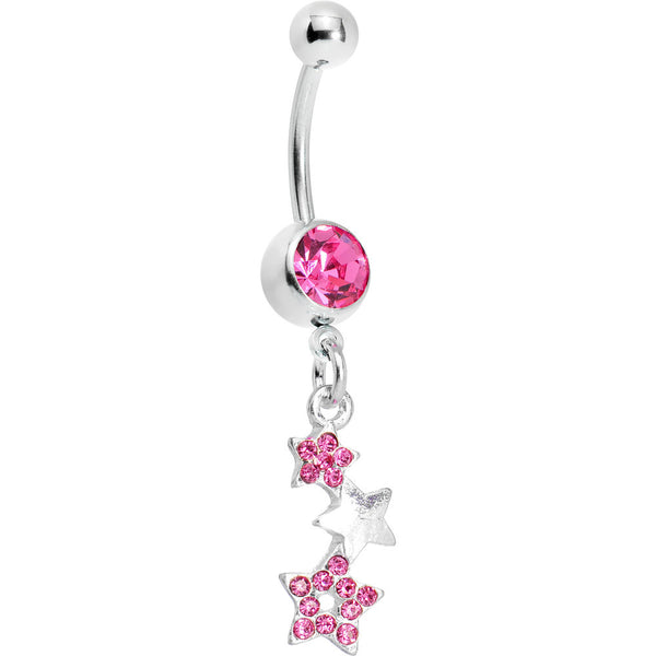 Passion Pink Gem Silvery Star Trio Belly Ring