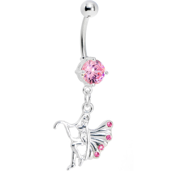 Pink Gem Winged Forest Fairy Belly Ring