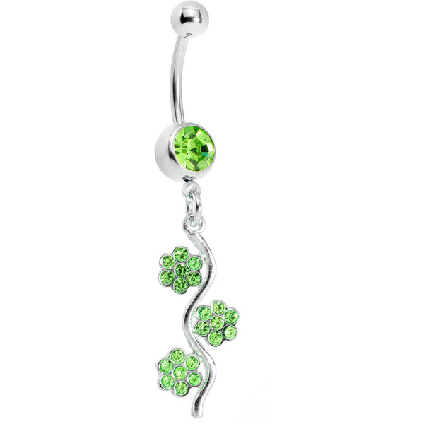 Peridot Green Gem Flower Vine Belly Ring