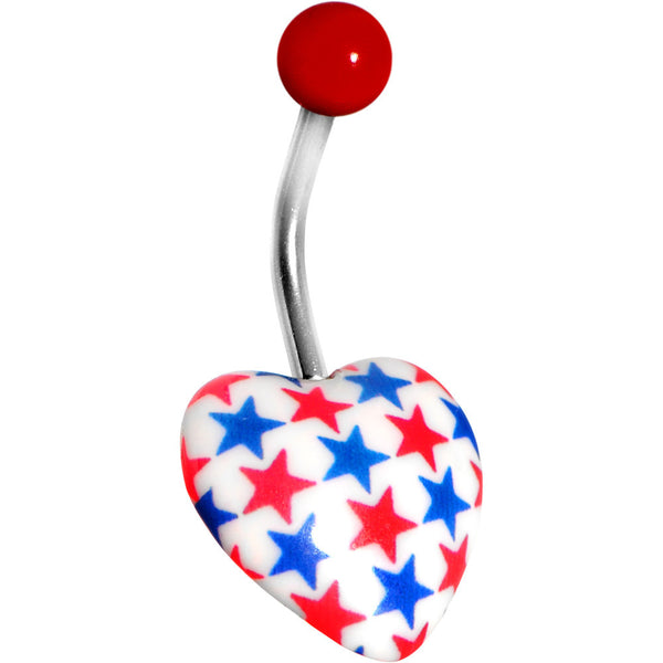 Patriotic Red White Blue Heart Belly Ring