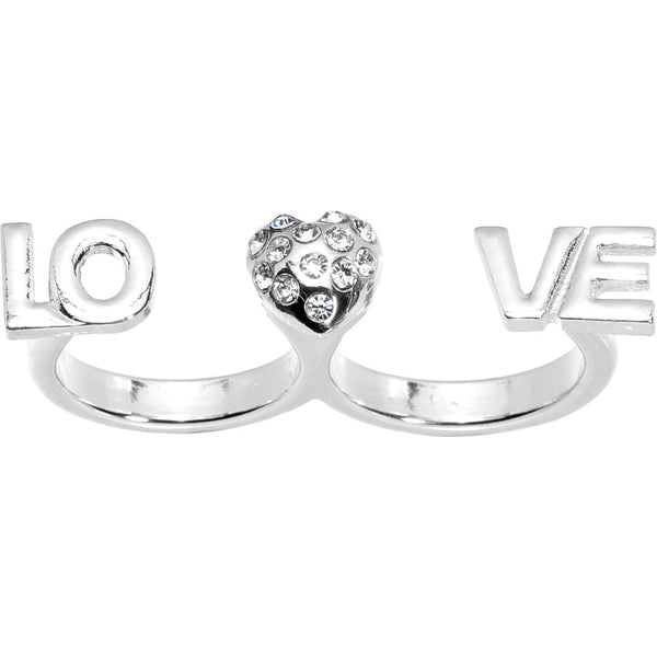 Silver Tone Heart Love Double Finger Ring