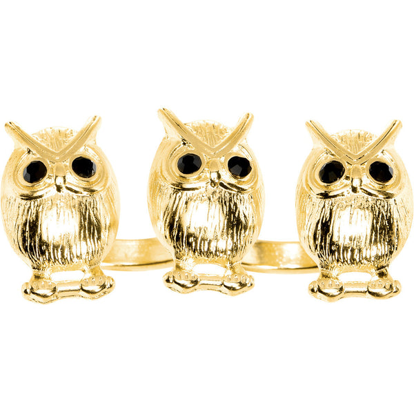 Gold Tone Owl Trio Double Finger Ring
