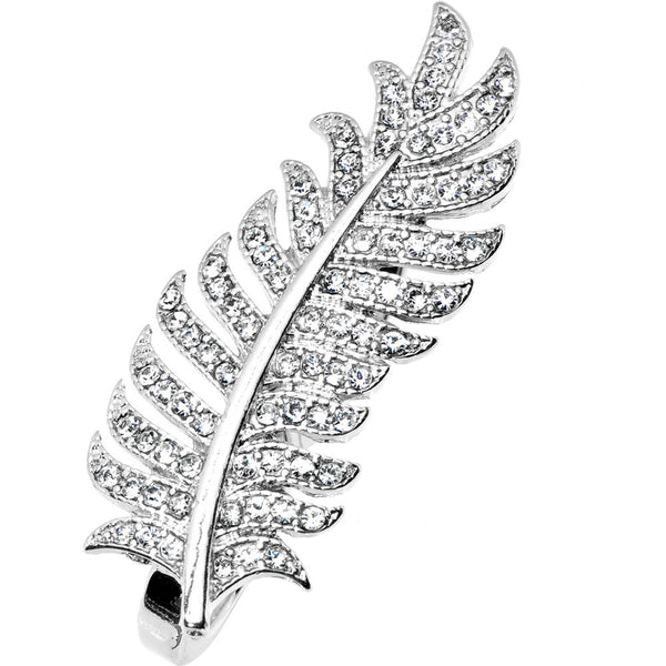 Silver Tone Crystalline Feather Double Finger Ring