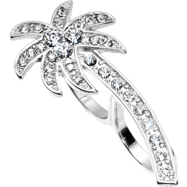 Silver Tone Crystalline Tropical Palm Tree Double Finger Ring
