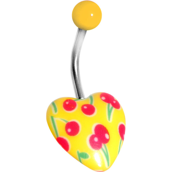 Yellow Cherry Heart Belly Ring