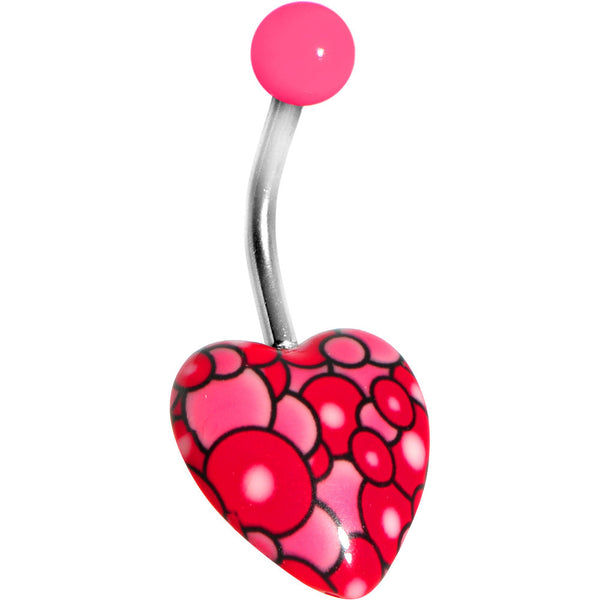 Pink Bubble Bursting Heart Belly Ring