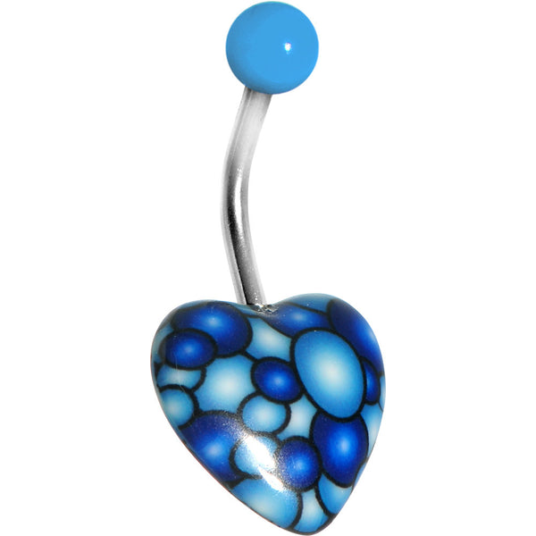 Blue Bubble Bursting Heart Belly Ring