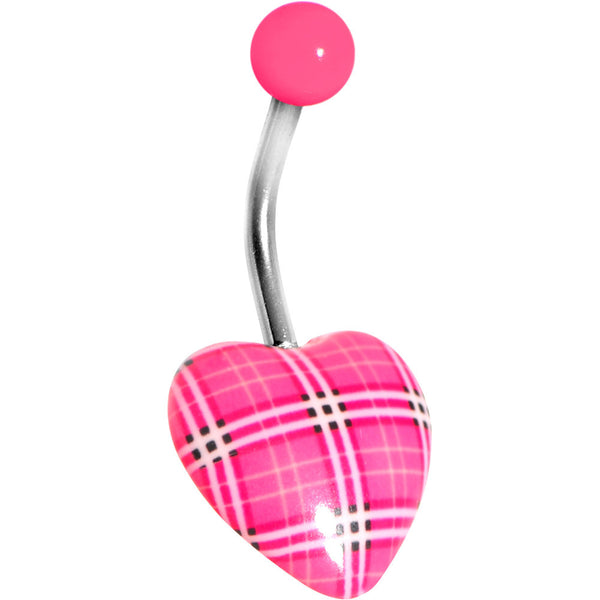Pink Plaid Heart Belly Ring