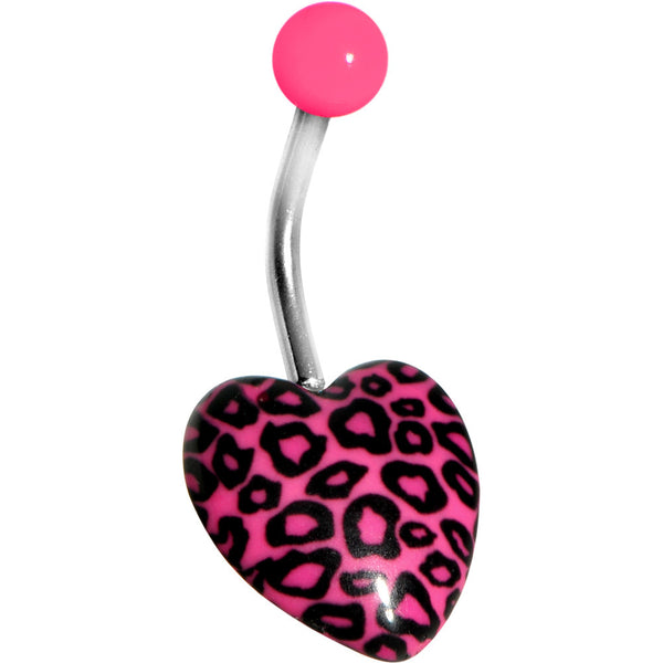 Hot Pink Leopard Print Heart Belly Ring