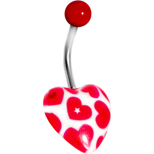 White and Red Heart Belly Ring