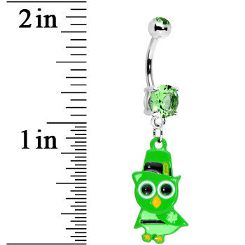 Peridot Green Gem Irish Owl Belly Ring