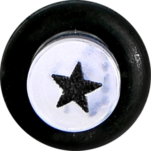 6 Gauge Clear Acrylic Glitter Black Star Confetti Taper