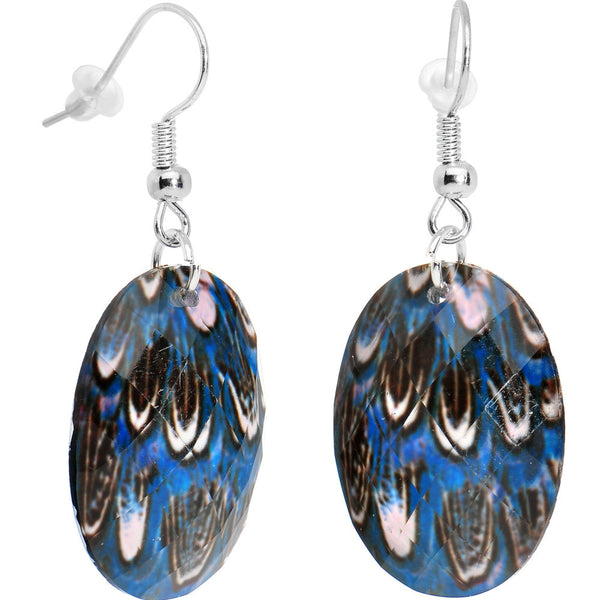 Blue Lagoon Peacock Feather Dangle Earrings