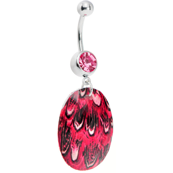 Pink Gem Paradise Feather Oval Dangle Belly Ring