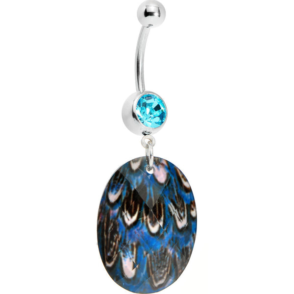 Blue Gem Paradise Feather Oval Dangle Belly Ring