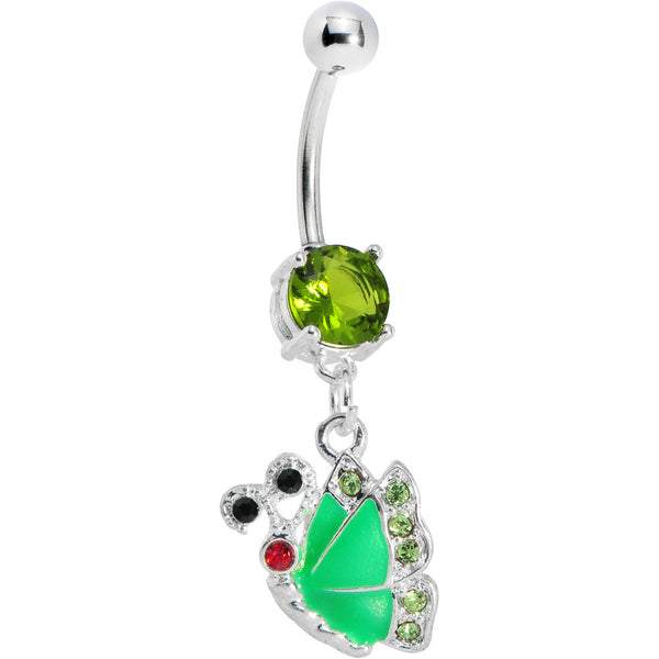Green Gem Shine Wing Butterfly Belly Ring