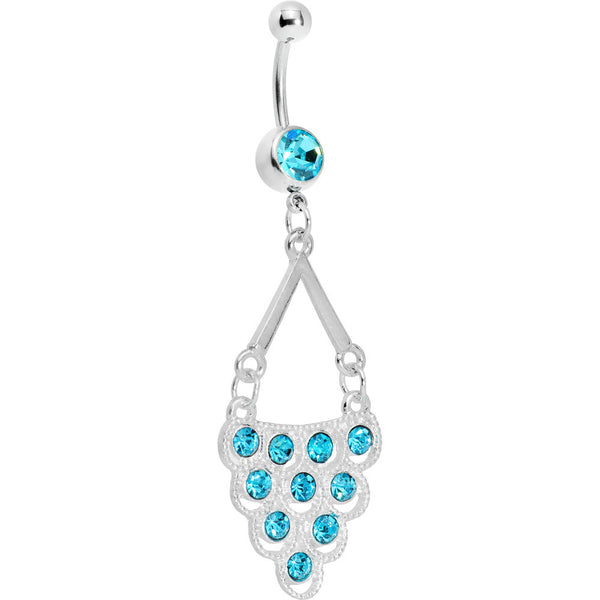 Aqua Gem Lavish Lace Cascade Dangle Belly Ring