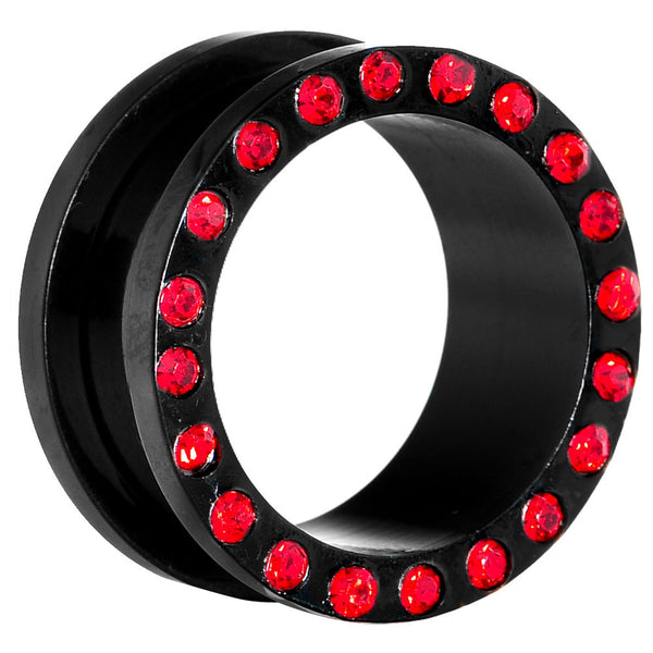 18mm Black Anodized Titanium Red Gem Screw Fit Tunnel