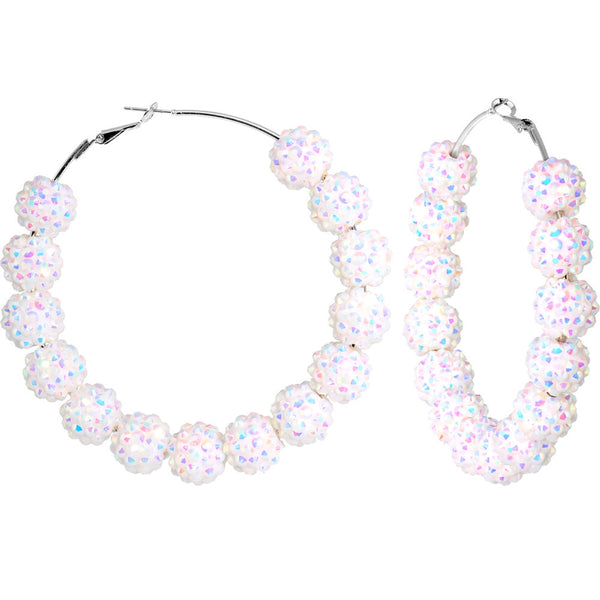 3 Inch White Sparkle Ball Hoop Earrings